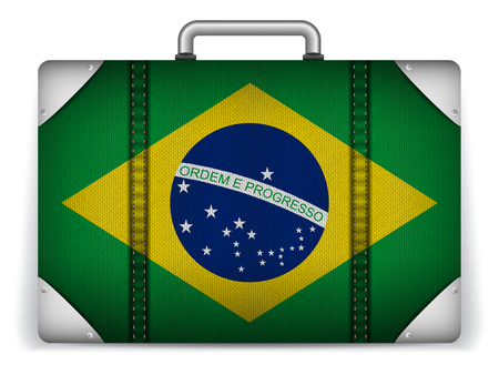 Vector - Brazil Travel Luggage with Flag for Vacation Vector