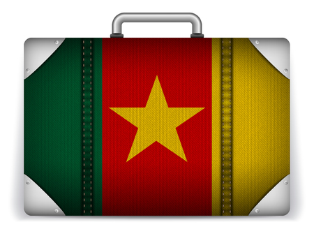 cameroonian: Vector - Cameroon Travel Luggage with Flag for Vacation