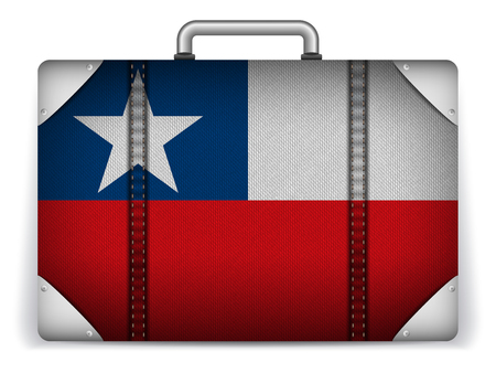Vector - Chile Travel Luggage with Flag for Vacation Vector