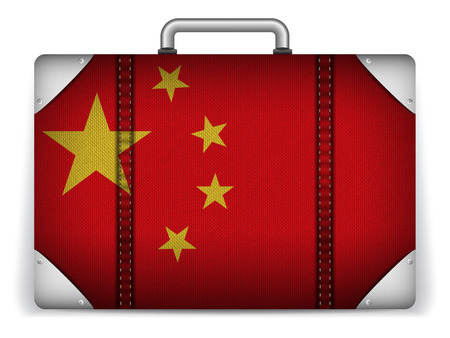 tourist icon: Vector - China Travel Luggage with Flag for Vacation