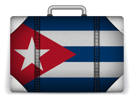 cuban flag: Vector - Cuba Travel Luggage with Flag for Vacation