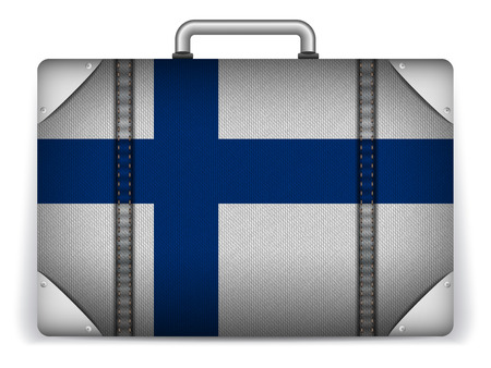 Vector - Finland Travel Luggage with Flag for Vacation Vector