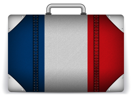 flag french icon: Vector - France Travel Luggage with Flag for Vacation