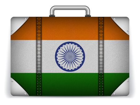 Vector - India Travel Luggage with Flag for Vacation Vector