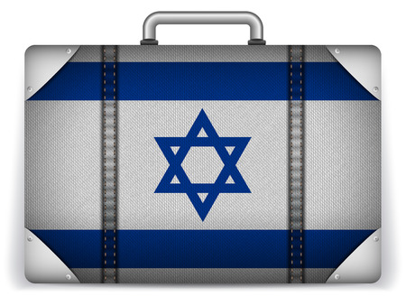 Vector - Israel Travel Luggage with Flag for Vacation Vector
