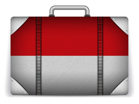 monegasque: Vector - Monaco Travel Luggage with Flag for Vacation