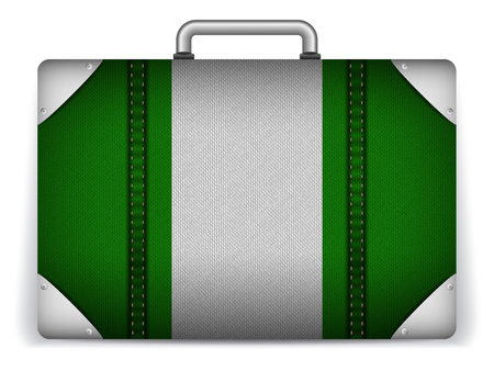 Vector - Nigeria Travel Luggage with Flag for Vacation Vector
