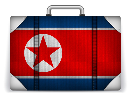 Vector - North Korea Travel Luggage with Flag for Vacation Vector