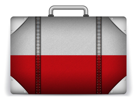 Vector - Poland Travel Luggage with Flag for Vacation Vector
