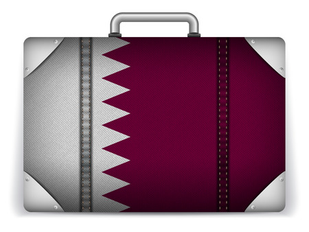Vector - Qatar Travel Luggage with Flag for Vacation Vector
