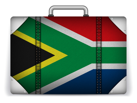 Vector - South Africa Travel Luggage with Flag for Vacation Vector