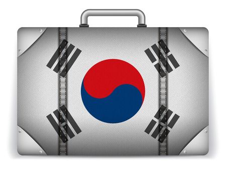 Vector - South Korea Travel Luggage with Flag for Vacation Vector