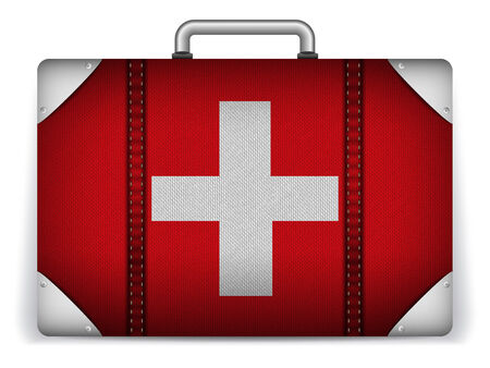Vector - Switzerland Travel Luggage with Flag for Vacation Vector