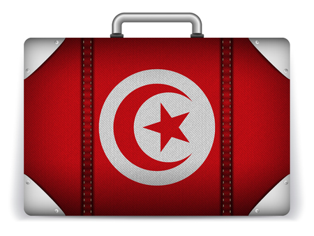 Vector - Tunisia Travel Luggage with Flag for Vacation Vector