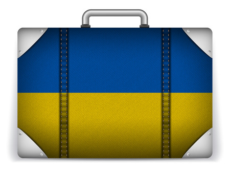 Vector - Ukraine Travel Luggage with Flag for Vacation Vector