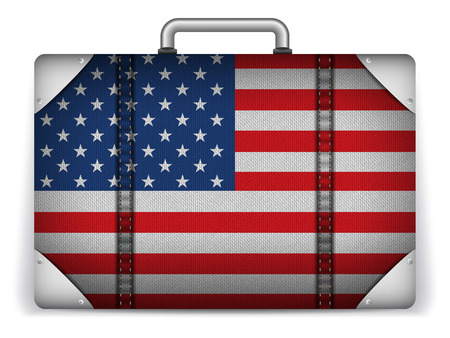 luggage tag: Vector - USA Travel Luggage with Flag for Vacation