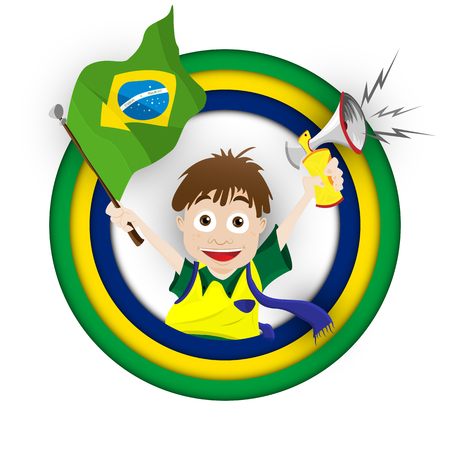 Vector - Brazil Sport Fan with Flag and Horn Vector