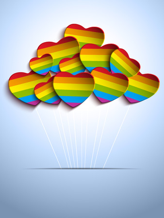 Vector - Gay Flag Hearts Balloons Background Vector