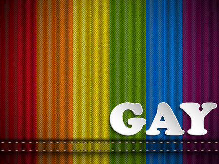 Vector - Gay Flag Button on Jeans Fabric Texture Vector
