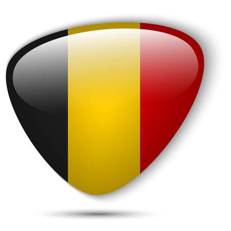 Vector - Belgium Flag Glossy Button Vector