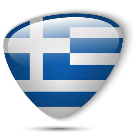 greece flag: Vector - Greece Flag Glossy Button