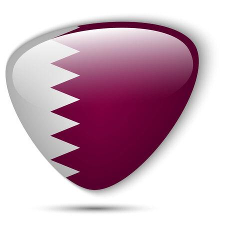 Vector - Qatar Flag Glossy Button Vector