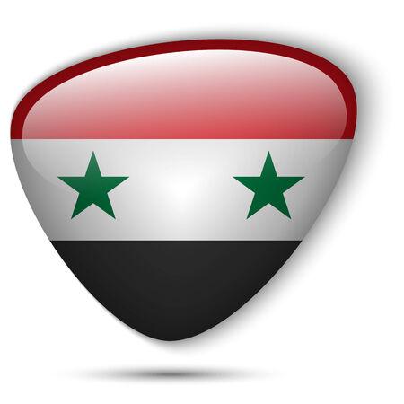 Vector - Syria Flag Glossy Button Vector