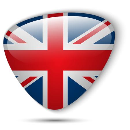bandiera inghilterra: Vector - Flag UK Button Glossy Vettoriali