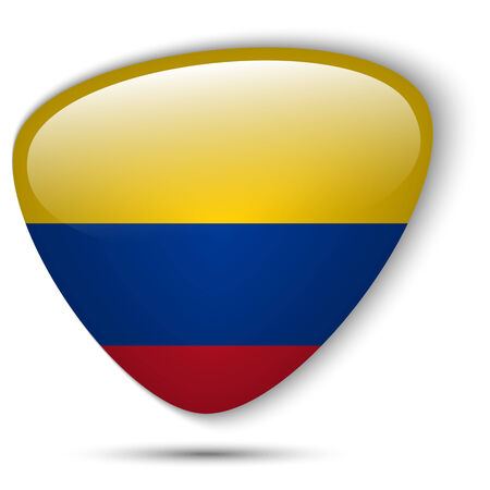 Vector - Colombia Flag Glossy Button Vector