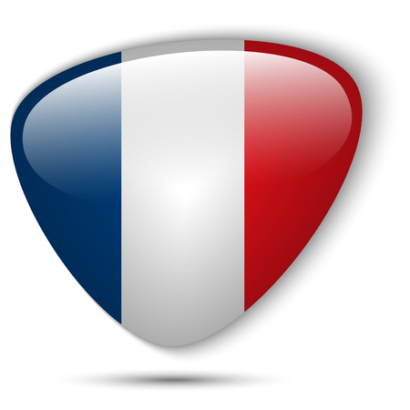 Vector - France Flag Glossy Button Vector