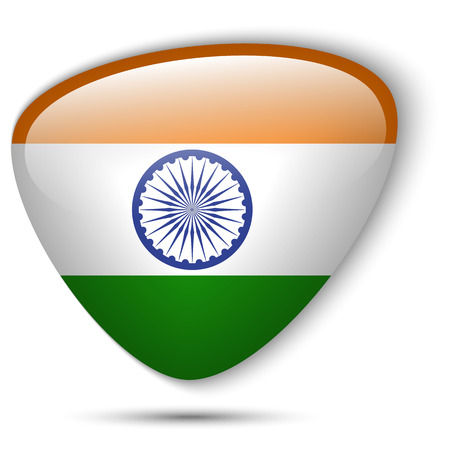 triangle flag: Vector - Indian Flag Glossy Button Illustration