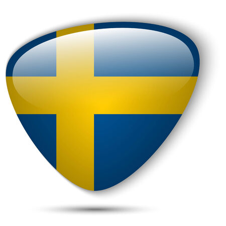 Vector - Sweden Flag Glossy Button Vector