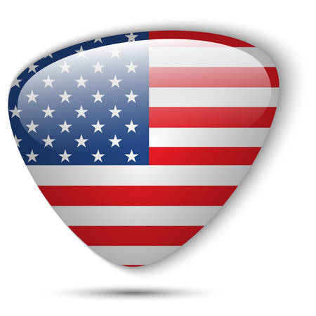 Vector - USA Flag Glossy Button Vector