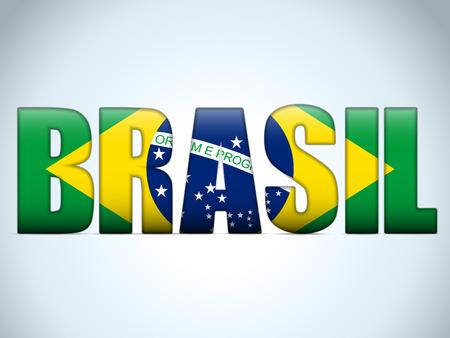 brasil: Vector - Brasil 2014 Letters with Brazilian Flag
