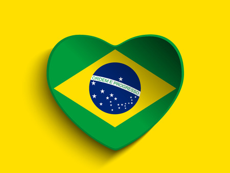 Vector - Brazil 2014 Heart with Brazilian Flag Vector