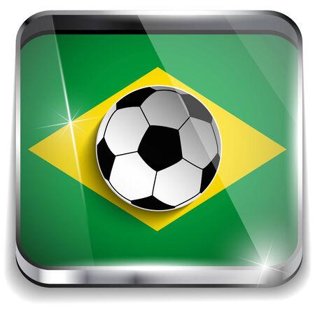 Vector - Brazil Flag with Soccer Ball Background Vector