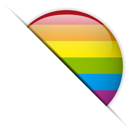 Vector - Gay Flag Circle Striped Button Vector