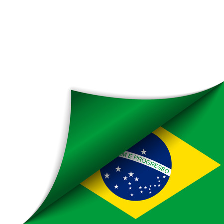 Vector - Brazil Country Flag Turning Page Vector