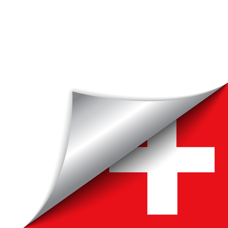 switzerland flag: Vector - Switzerland Country Flag Turning Page Illustration