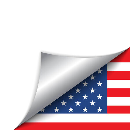Vector - USA Country Flag Turning Page Vector