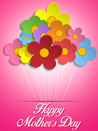 Happy Mothers Day Card with Flowers