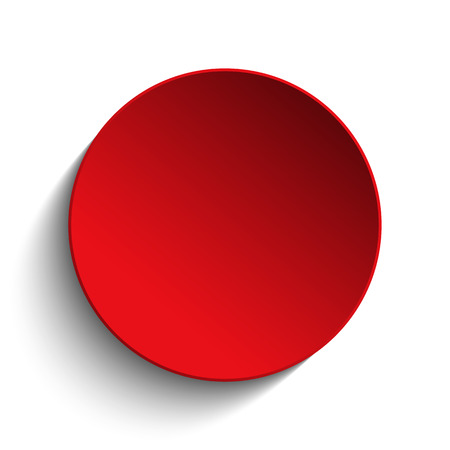 Red Circle Button on White Background Ilustração