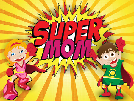 Happy Mother Day card design of Super Hero Mommy Vector