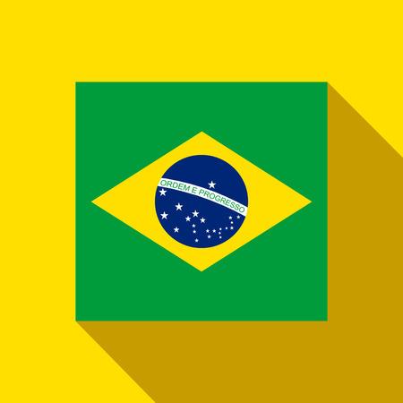 Vector - Brazil 2014 Flat Icon with Brazilian Flag Illustration