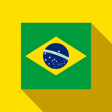 Vector - Brazil 2014 Flat Icon with Brazilian Flag Vector
