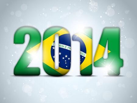 Vector - Brazil 2014 Soccer with Brazilian Flag Vector