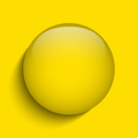 sign simplicity: Vector - Yellow Glass Circle Button on White Background