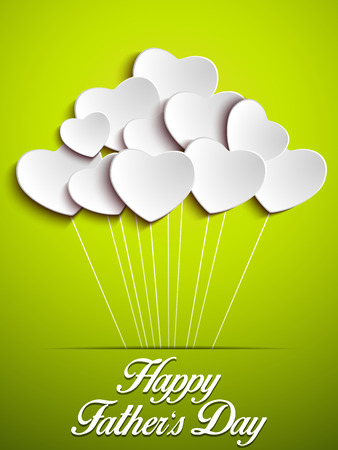 Vector - Happy Fathers Day Green Heart Background Vector