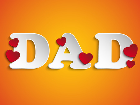 Vector - Happy Fathers Day with Heart Background Vector