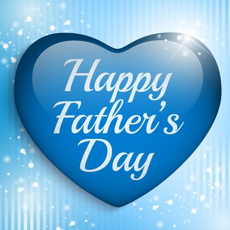 幸せな父親の日青いハート背景のベクトル-
